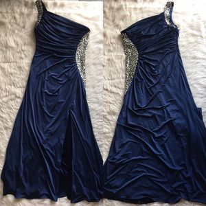 Camille la Vie navy blue rhinestone stretch dress